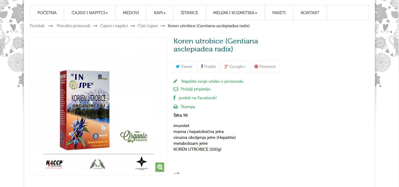 Koren utrobice (Gentiana asclepiadea radix)